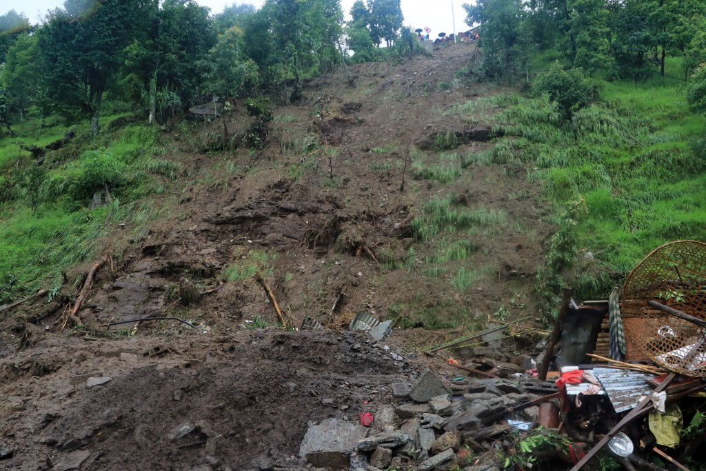 Sarangkot, Gothadi landslide where five people have been killed and 13 were effected. photo : Aadarsha Samaj.